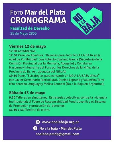 Cronograma No a la Baja MDQ