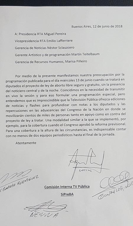 Carta Trabajadores TV Pública