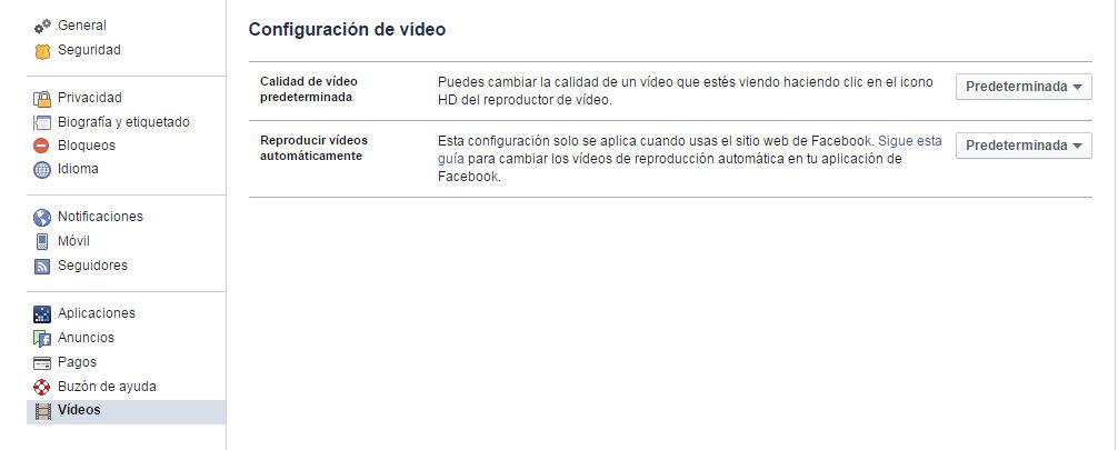 Configuración Facebook 2