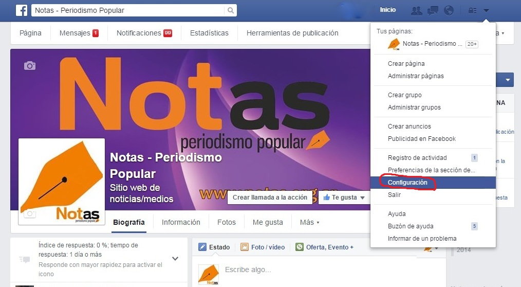 Facebook Configuración PC