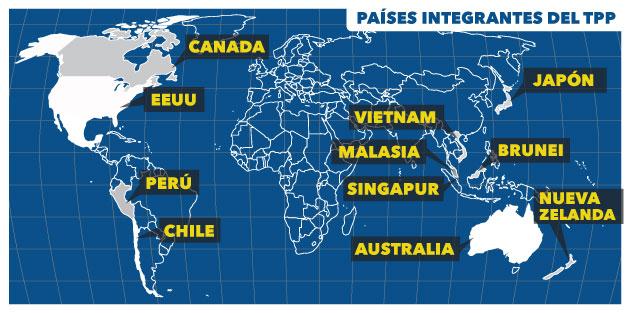 Acuerdo de Asocación Transpacífico Mapa