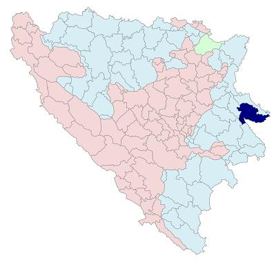 En azul el Municipio de Srebrenica en Bosnia-Herzegovina