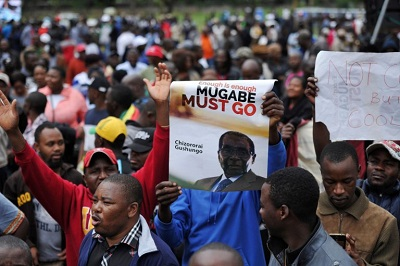 Demonstrators hold anti-Mugabe placards